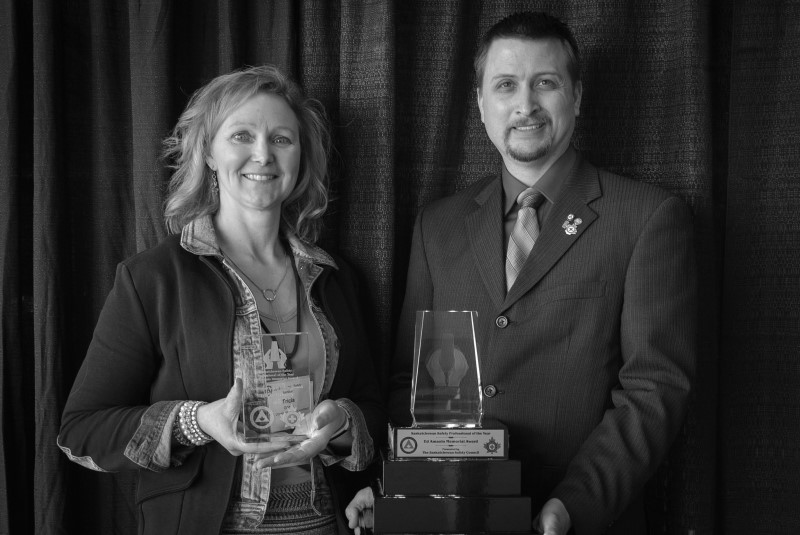 2018 Safety Professional of the Year, Tricia Gibney, and Ryan Jacobson, CEO of the Saskatchewan Safety Council