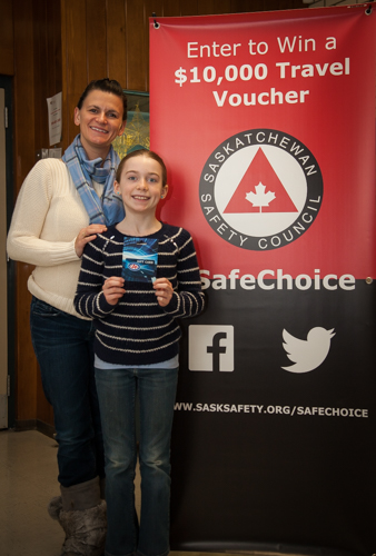 Sonya Horner (contest winner) with step daughter, Asia. Both of whom participated in the Saskatchewan Safety Council's #SafeChoice contest.